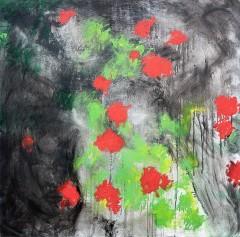 geraniums - 80 x 80 cm